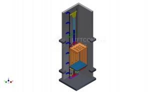 řez šachtou u hydraulického výtahu